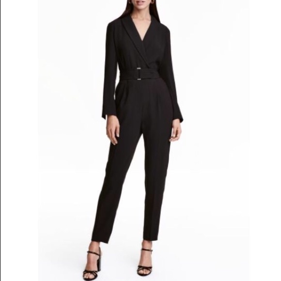 72effff9962 H M Pants - HP ✨ H M Tuxedo Jumpsuit Long Sleeve Wrap Lapel